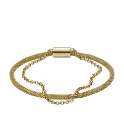 Fossil JF03022710 Armband Damen Double-Strand Mesh und Edelstahl Gold-Ton 16,5 cm