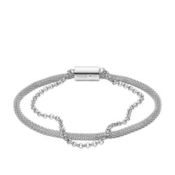 Fossil JF03018040 Armband Damen Double-Strand Mesh und Edelstahl 16,5 cm