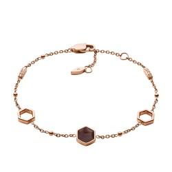 Fossil JF03061791 Armband Damen Hexagon Rosé-Gold-Ton Rauchquarz