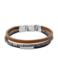 Fossil JF03104040 Armband Herren Multi-Strand Schwarzem Braunem Leder