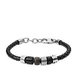 Fossil JF03111998 Armband Herren Rondelle Black Leder Edelstahl