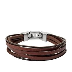 Fossil JF03184040 Armband Herren Multi-Strand Edelstahl Leder