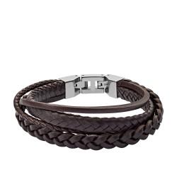 Fossil JF03190040 Armband Herren Multi Strand Edelstahl Leder