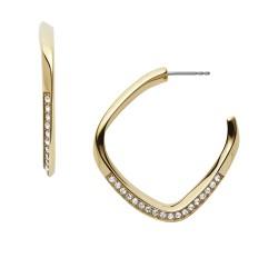 Fossil JF03198710 Ohrringe Creolen Damen Twisted Hoops Edelstahl Gold-Ton
