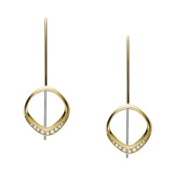Fossil JF03199998 Ohrringe Damen Twisted Linear Drop Edelstahl Gold-Ton