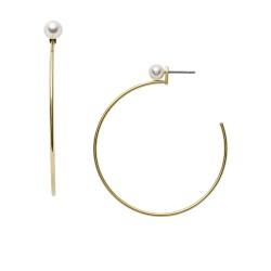 Fossil JF03207710 Ohrringe Damen Weiße Glasperle Edelstahl Gold-Ton