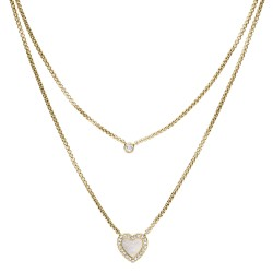 Fossil JF03217710 Kette-Anhänger Damen Heart Duo Edelstahl Gold-Ton