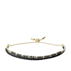 Fossil Armband JF03272710 Armband Damen Multi-Strand Edelstahl Leder Gelbgold