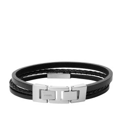 Fossil JF03322040 Armband Herren Multi-Strand Edelstahl Leder
