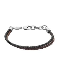 Fossil JF03435040 Armband Herren Heritage Hämatit Leder Edelstahl