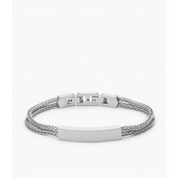 Fossil JF03445040 Armband Herren Vintage Casual Edelstahl ID Silber