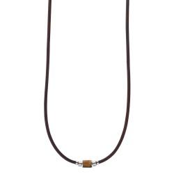 Fossil JF03452040 Halskette mit Anhänger Herren Heritage Tigerauge Leder