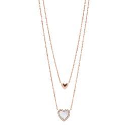 Fossil JF03459791 Halskette mit Anhänger Hearts To You Edelstahl Rosé-Ton