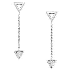 Fossil JFS00445040 Ohrringe Ohrhänger Damen Sterling Silber Geometric Weiss