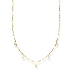 Thomas Sabo KE2071-414-14 Halskette Damen Weiße Steine Vergoldet 45 cm