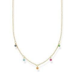 Thomas Sabo KE2071-488-7 Halskette mit Anhänger Farbige Steine Vergoldet