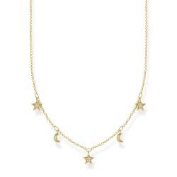 Thomas Sabo KE2074-414-14 Halskette Anhängern Mond Sterne Silber Vergoldet
