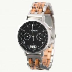 Laimer 0080 Herren Holzuhr Leon Chronograph Quarz Zebranoholz-Armband