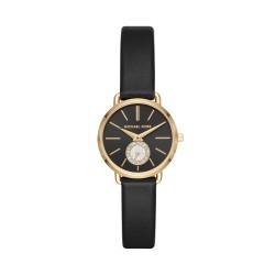Michael Kors MK2750 Damen-Uhr Petite Portia Leder Schwarz Gold-Ton 3 Zeiger Ø 28 mm