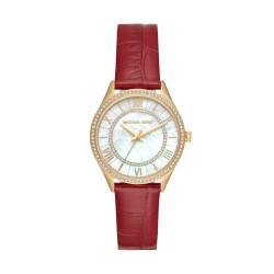 Michael Kors MK2756 Damen-Uhr Mini Lauryn Leder Rot Gold-Ton 3 Zeiger Ø 33 mm