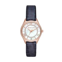 Michael Kors MK2757 Damen-Uhr Mini Lauryn Leder Blau Rosé-Ton 3 Zeiger Ø 33 mm