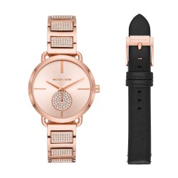 Michael Kors MK2776 Damen-Uhr Portia Edelstahl Rosé-Ton Wechselband Leder Schwarz Ø 36 mm