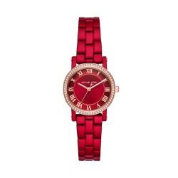 Michael Kors MK3896 Damen-Uhr Norie Edelstahl Rot Rosé-Ton 3 Zeiger Ø 28 mm