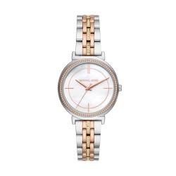 Michael Kors MK3927 Damen-Uhr Cinthia Edelstahl Silber-Roségold-Gold-Ton 3 Zeiger Ø 33 mm