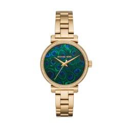 Michael Kors MK3946 Damen-Uhr Sofie Pfauenauge Edelstahl Gold-Ton 3 Zeiger Ø 36 mm