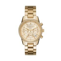 Michael Kors MK6356 Damen-Uhr Ritz Chronograph Quarz mit Edelstahl-Band Gold-Ton