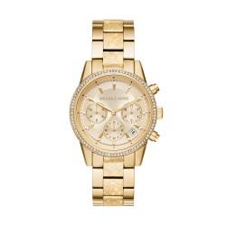 Michael Kors MK6597 Damen-Uhr Ritz Edelstahl Gold-Ton Chronograph Datum Ø 37 mm