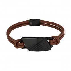 Police PJ26559BLB.02 Armband Herren Matobo Braun Leder Edelstahl IP