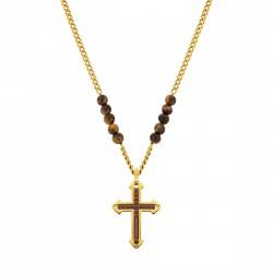 Police PJ.26568PSG/02 Halskette mit Anhänger Cuillin Kreuz Edelstahl Gold