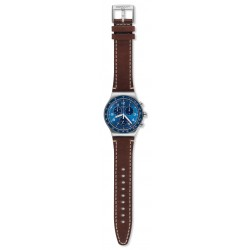 Swatch YVS466 Armband-Uhr Casual Blue Chronograph Quarz mit Leder-Band