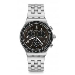 Swatch YVS465G Armband-Uhr Deepgrey Chronograph Quarz mit Edelstahl-Band