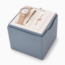 Skagen SKW1113 Damen-Uhr Armband Set Freja Analog Quarz Leder-Band