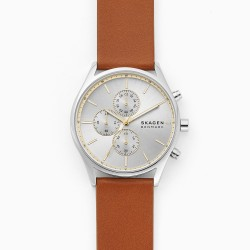 Skagen SKW6607 Herren-Uhr Holst Chronograph Quarz Leder-Band Ø 42 mm