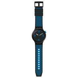 Swatch SO27B101 Armband-Uhr BBBlue Analog Quarz mit Silikon-Band