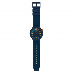 Swatch SO27N110 Armband-Uhr Futuristic Blue Analog Quarz Silikon-Armband