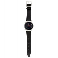 Swatch SS07S100 Armband-Uhr Skinblack Analog Quarz mit Leder-Band