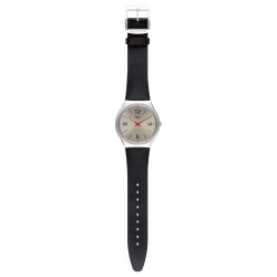 Swatch SS07S104 Armband-Uhr Skinmetal Analog Quarz mit Leder-Band