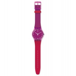 Swatch SUOV104 Armband-Uhr Cherryberry Analog Quarz mit Silikon-Band