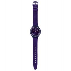 Swatch SVUV102 Armbanduhr Skinviolet Analog Quarz mit Leder Armband Ø 40,00 mm