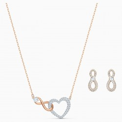 Swarovski 5521040 Halskette mit Anhänger Ohrstecker Set Infinity Heart Weiss Rosé Vergoldet