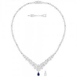 Swarovski 5419234 Kette Collier Anhänger Damen Loison Gross Weiss Blau Silber-Ton