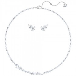 Swarovski 5435164 Set Kette Collier Ohrringe Louison Mittel Weiss Silber-Ton