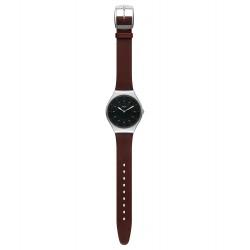 Swatch SYXS102 Armband-Uhr Skinbrushed Skin Irony Analog Quarz Leder