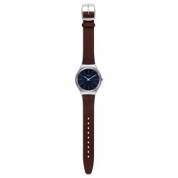 Swatch SYXS106C Armbanduhr Skinoutono Analog Quarz mit Leder Armband Ø 38,00 mm