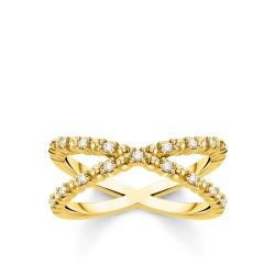 Thomas Sabo TR2318-414-14 Ring Kugeln mit Weißen Steinen Vergoldet