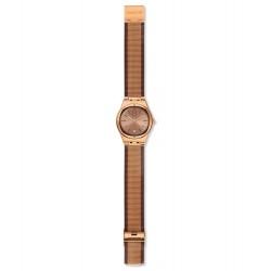 Swatch YLG408M Armbanduhr Full Rose Jacket Analog Quarz mit Edelstahl Armband Ø 33,00 mm